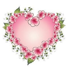 Floral frame with heart vector