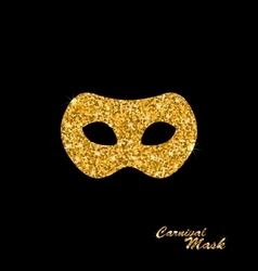 Golden glittering carnival or theater mask vector