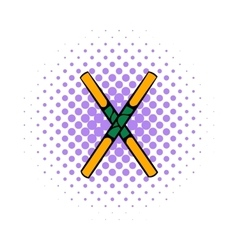 Wooden sword bokken icon comics style vector