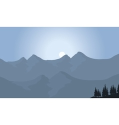 View of mountain with moon vector