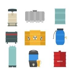 Barrel capacity tanks set vector image