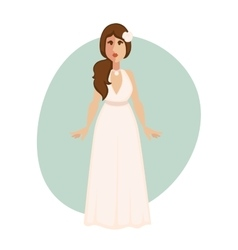 Beautiful bride woman in a wedding dress vector