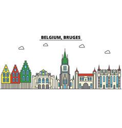 Belgium bruges city skyline architecture vector
