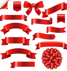 Big Red Ribbons Set vector image