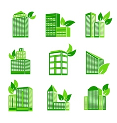 Building eco icon vector image vector image
