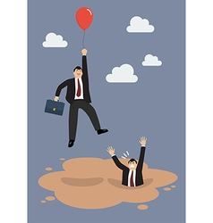 Businessman with red balloon get away from puddle vector image