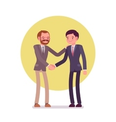 Businessmen greeting handshaking vector image