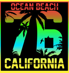 california typography t-shirt graphics vector image