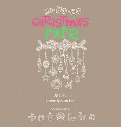 christmas fair announcement poster vector image