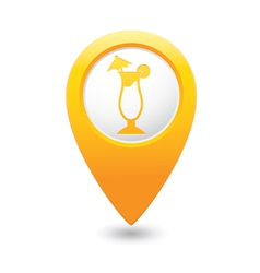 coctail icon on map pointer yellow vector image vector image