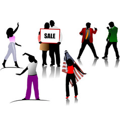 colored people silhouettes vector image vector image