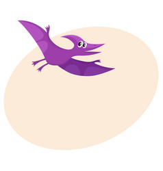 cute and funny smiling baby pterodactyloidea vector image vector image