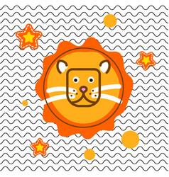 Cute lion head t-shirt print design vector