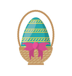 Easter basket egg bow decoration vector