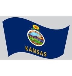 Flag of Kansas waving on gray background vector image vector image