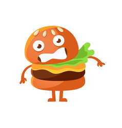Frightened burger with big eyes cute cartoon fast vector