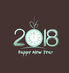 happy new year 2018 - old vintage clock vector image