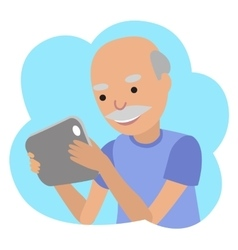 Happy senior man with tablet in hands vector