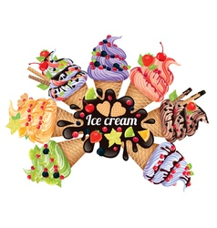 Ice cream different vector image vector image