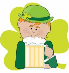 leprechaun and beer vector image