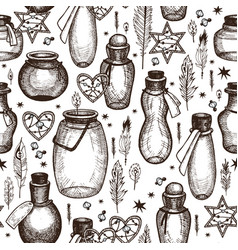 magic seamless pattern with glass flasks vector image vector image
