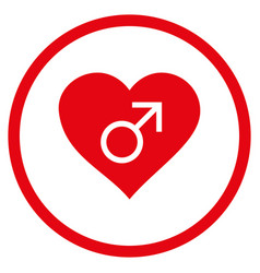 Male love heart rounded icon vector