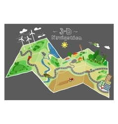 navigation doodle map vector image