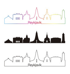Reykjavik v2 skyline linear style with rainbow vector