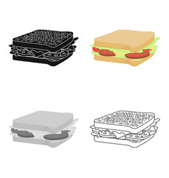 Sandwich icon in cartoon style for web vector