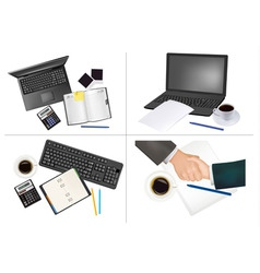 set of office backgrounds vector image
