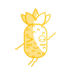 Silhouette kawaii cute funny pineapple fruit vector