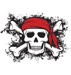 Skull and bones pirate symbol in grunge style vector