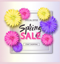 spring sale background with flowers season vector image vector image