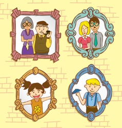 vintage frame with family photo vector image vector image