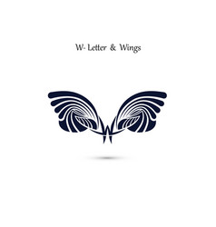 W letter sign and angel wings monogram wing logo vector