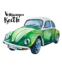 Watercolor of retro green car vector