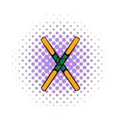 Wooden sword bokken icon comics style vector image