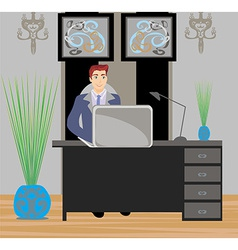 Young businessman in his office vector image