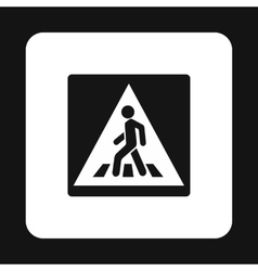 Sign pedestrian crossing icon simple style vector
