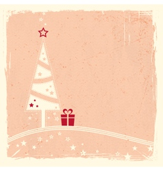 Christmas tree with present and stars vector image