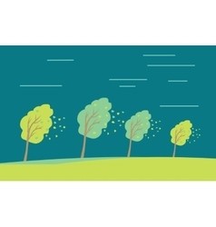 Strong wind and heavy rainstorm in the forest vector