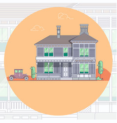 Houses and car lineart minimal vector