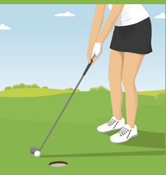 close up of lady golfer putting vector image