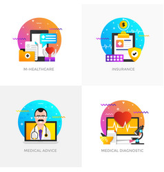 Flat designed concepts - m-healthcare insurance vector