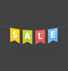 Sale word on pennants on rope vector
