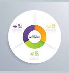3 business circle infographic background template vector image
