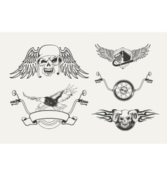 Set of motorcycle emblems badges labels and vector