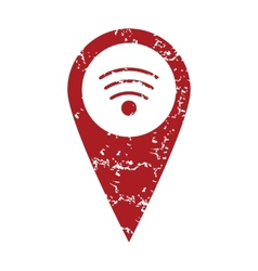 Red grunge wi-fi pointer logo vector