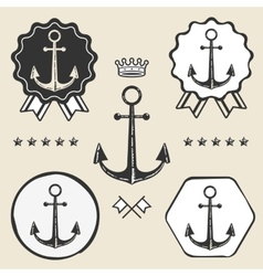 Anchor vintage symbol emblem label collection vector