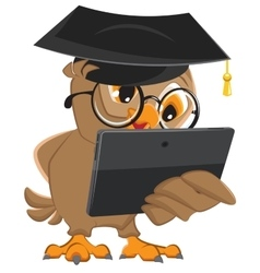 Owl teacher holds tablet computer vector